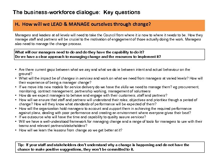 The business-workforce dialogue: Key questions H. How will we LEAD & MANAGE ourselves through