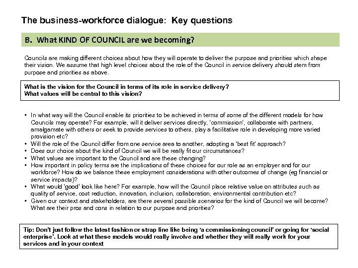 The business-workforce dialogue: Key questions B. What KIND OF COUNCIL are we becoming? Councils