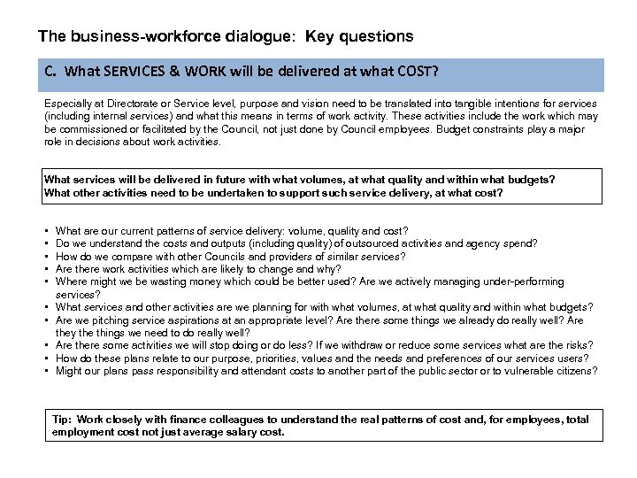 The business-workforce dialogue: Key questions C. What SERVICES & WORK will be delivered at