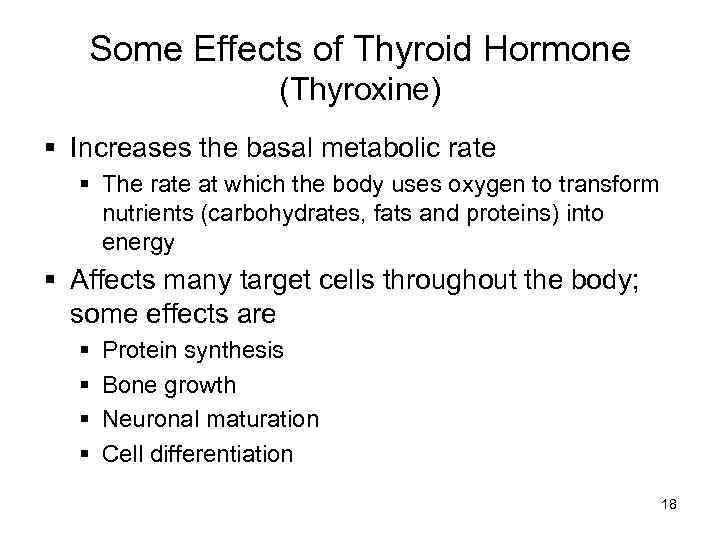what was the effect of thyroxine on the normal rat s metabolic rate Hypophysectomized rats do not have the thyroxine with which to regulate metabolic rate properly thyroxine replacement can allow for the normalization of the metabolic what is the effect of tsh on the hypophysectomized rats metabolic rate if the rats are hypophysectomized, there will be no.