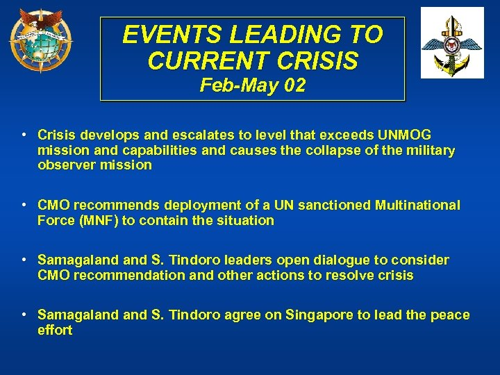 EVENTS LEADING TO CURRENT CRISIS Feb-May 02 • Crisis develops and escalates to level