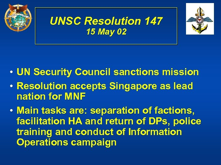 UNSC Resolution 147 15 May 02 • UN Security Council sanctions mission • Resolution