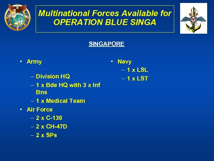 Multinational Forces Available for OPERATION BLUE SINGAPORE • Army – Division HQ – 1