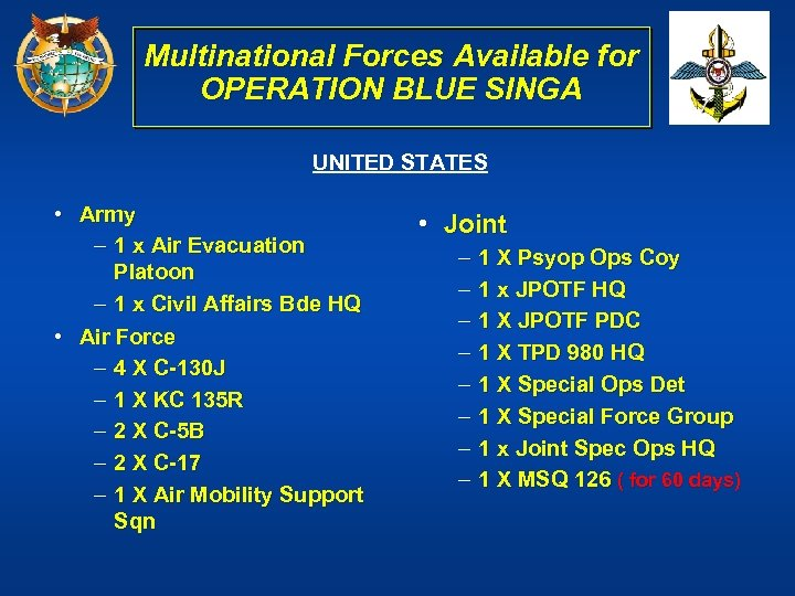 Multinational Forces Available for OPERATION BLUE SINGA UNITED STATES • Army – 1 x
