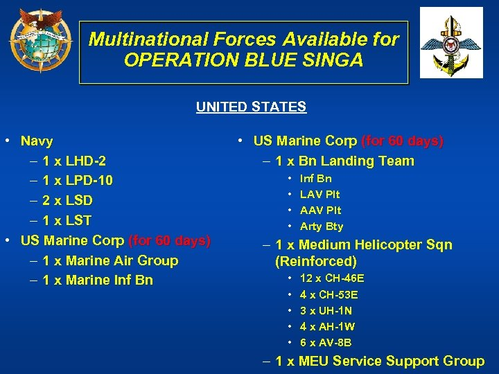 Multinational Forces Available for OPERATION BLUE SINGA UNITED STATES • Navy – 1 x