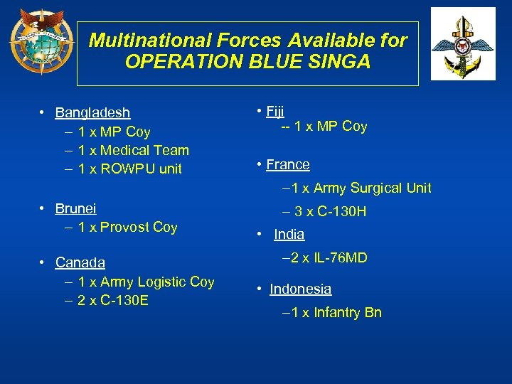 Multinational Forces Available for OPERATION BLUE SINGA • Bangladesh – 1 x MP Coy