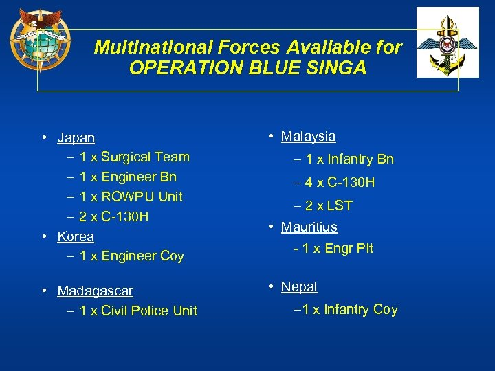 Multinational Forces Available for OPERATION BLUE SINGA • Japan – 1 x Surgical Team