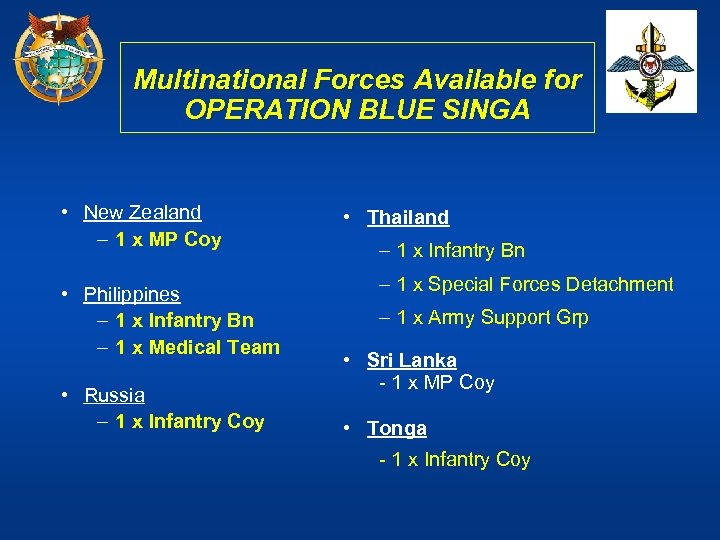 Multinational Forces Available for OPERATION BLUE SINGA • New Zealand – 1 x MP