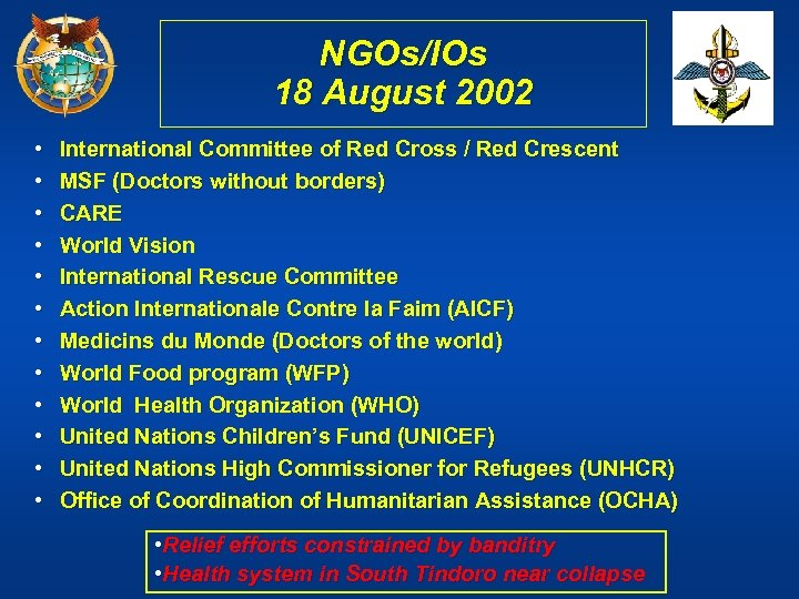 NGOs/IOs 18 August 2002 • • • International Committee of Red Cross / Red