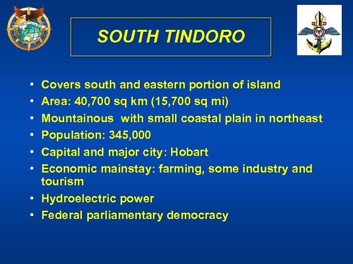 SOUTH TINDORO • • • Covers south and eastern portion of island Area: 40,