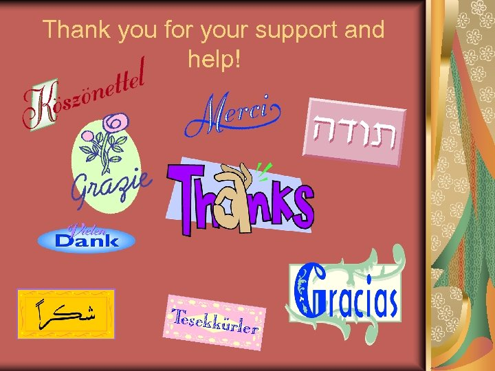 Thank you for your support and help!