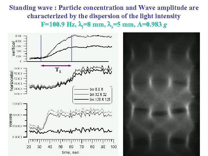 Standing wave : Particle concentration and Wave amplitude are characterized by the dispersion of