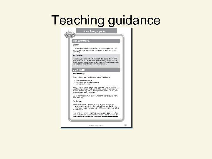 Teaching guidance