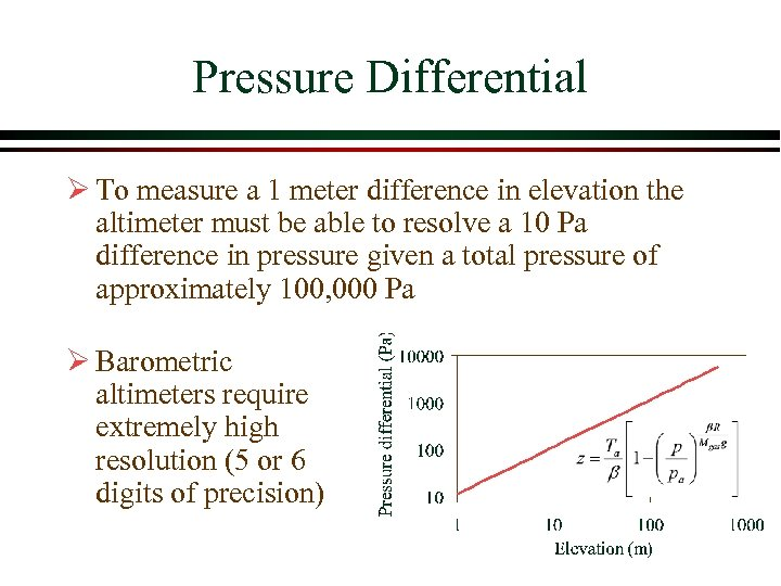 Pressure Differential Ø To measure a 1 meter difference in elevation the altimeter must