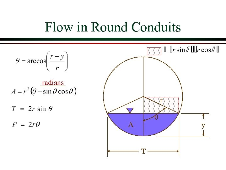 Flow in Round Conduits radians r A T y
