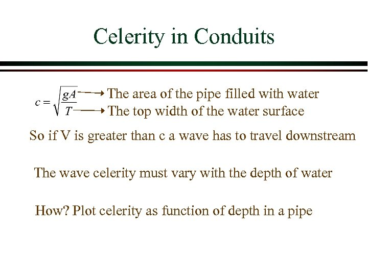 Celerity in Conduits The area of the pipe filled with water The top width