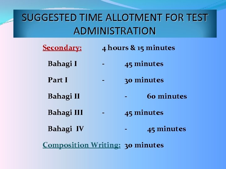 SUGGESTED TIME ALLOTMENT FOR TEST ADMINISTRATION Secondary: 4 hours & 15 minutes Bahagi I