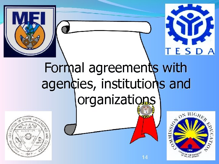 Formal agreements with agencies, institutions and organizations 14