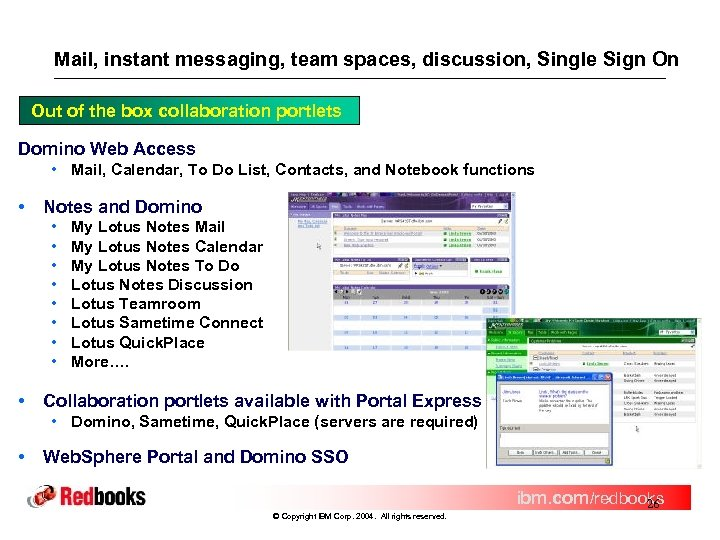 Mail, instant messaging, team spaces, discussion, Single Sign On Out of the box collaboration