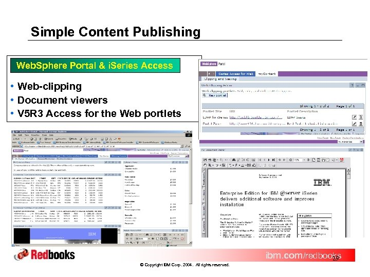 Simple Content Publishing Web. Sphere Portal & i. Series Access • Web-clipping • Document