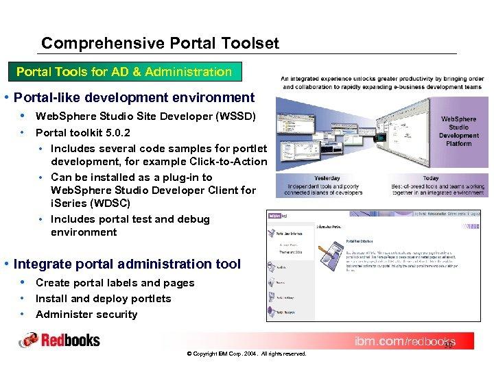 Comprehensive Portal Toolset Portal Tools for AD & Administration • Portal-like development environment •