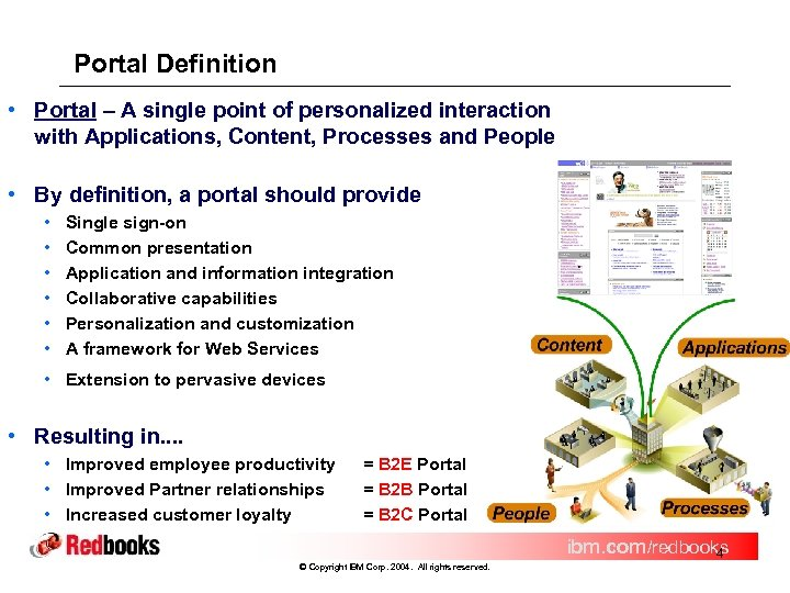 Portal Definition • Portal – A single point of personalized interaction with Applications, Content,