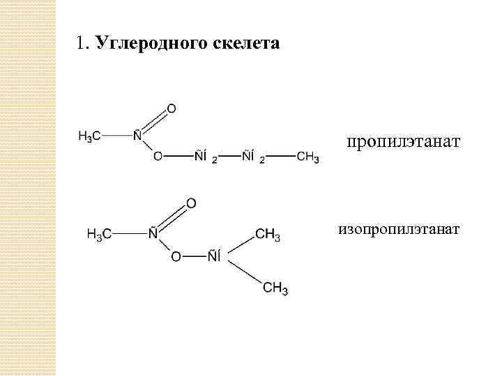 1. Углеродного скелета пропилэтанат изопропилэтанат