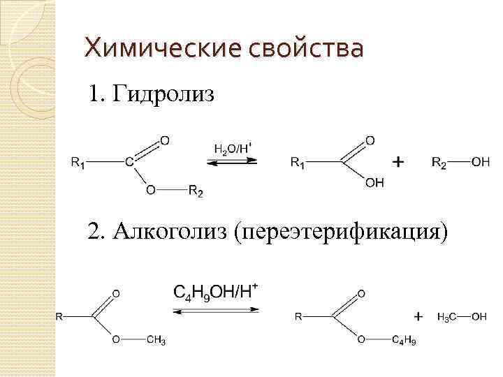 Химические свойства 1. Гидролиз 2. Алкоголиз (переэтерификация)