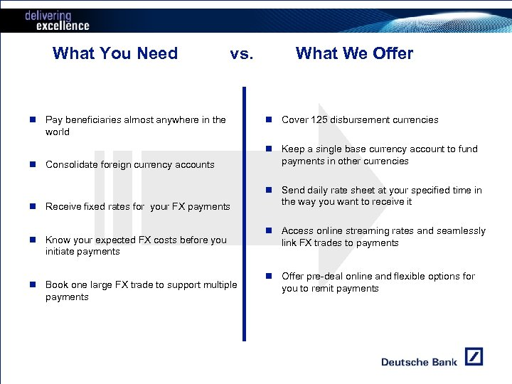 What You Need vs. Customer Needs n Pay beneficiaries almost anywhere in the world