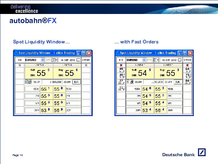 autobahn®FX Spot Liquidity Window… Page 14 … with Fast Orders