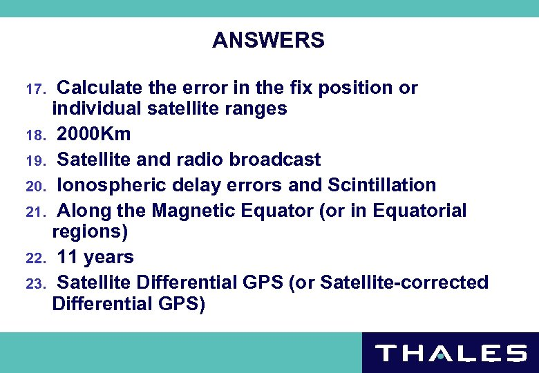 ANSWERS Calculate the error in the fix position or individual satellite ranges 18. 2000