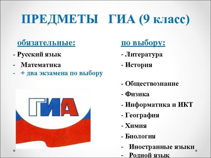 ПРЕДМЕТЫ ГИА (9 класс) обязательные: по выбору: - Русский язык - Математика - +