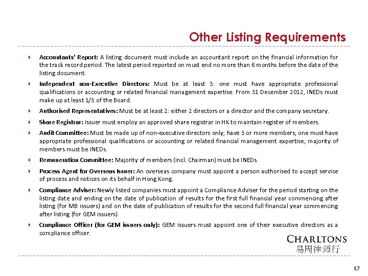Other Listing Requirements Accountants' Report: A listing document must include an accountant report on