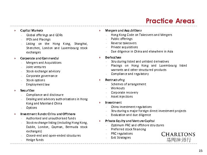 Practice Areas Capital Markets - Global offerings and GDRs - IPOs and Placings -