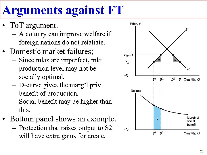 Arguments against FT • To. T argument. – A country can improve welfare if