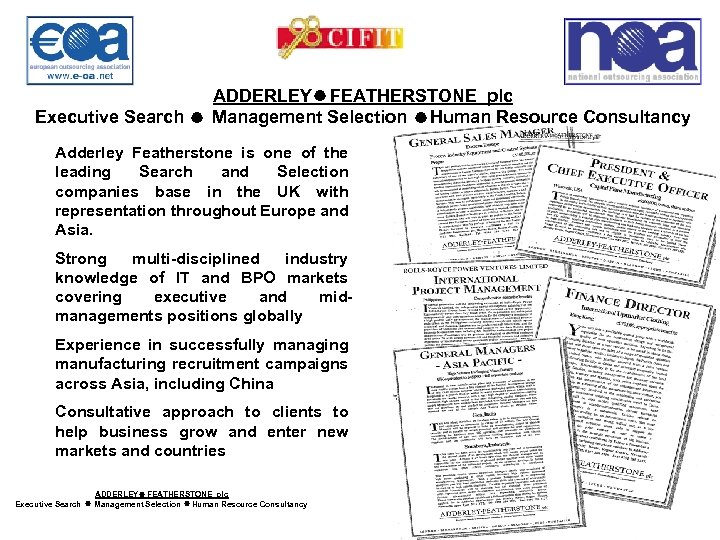 ADDERLEY FEATHERSTONE plc Executive Search Management Selection Human Resource Consultancy Adderley Featherstone is one