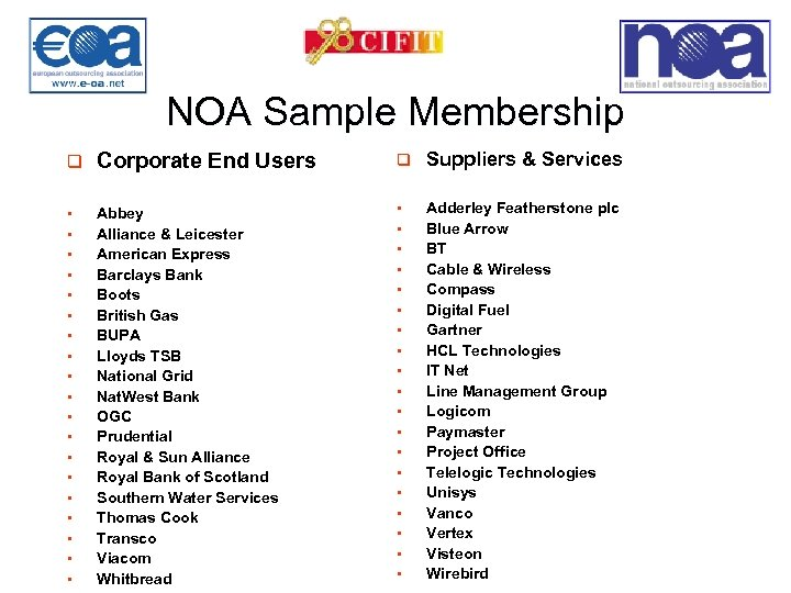 NOA Sample Membership q Corporate End Users q Suppliers & Services § Abbey Alliance