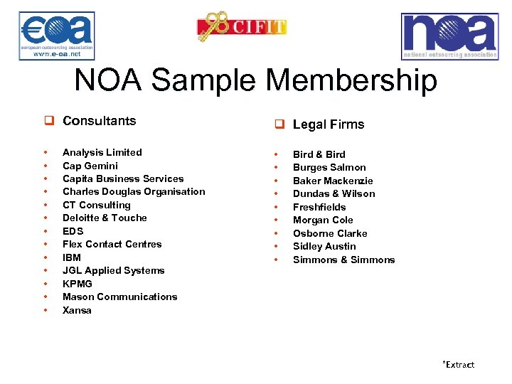 NOA Sample Membership q Consultants q Legal Firms • • • • • •