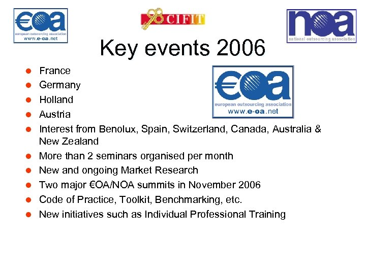 Key events 2006 l l l l l France Germany Holland Austria Interest from