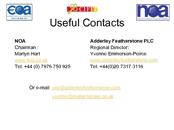 Useful Contacts NOA Chairman : Martyn Hart www. noa. co. uk Tel: +44 (0)