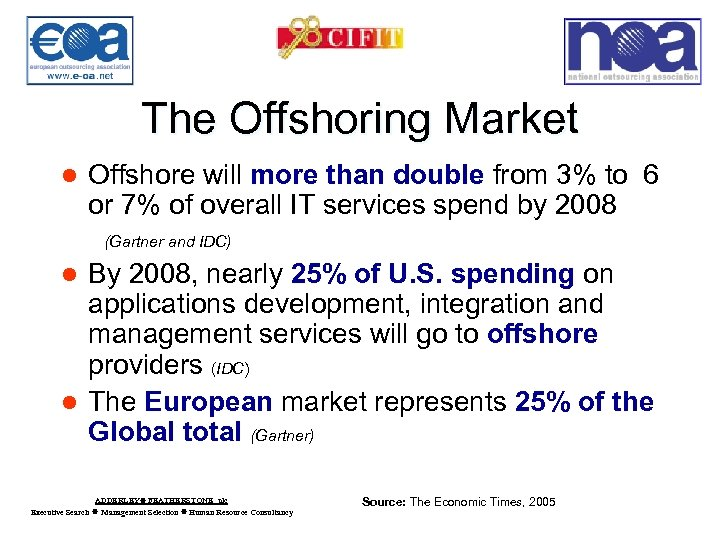 The Offshoring Market l Offshore will more than double from 3% to 6 or