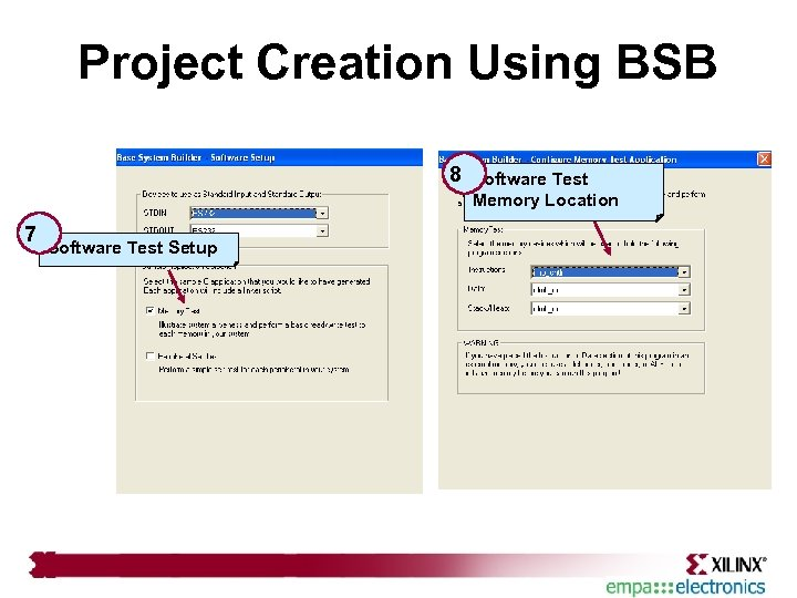 Project Creation Using BSB 8 7 Software Test Setup Software Test Memory Location