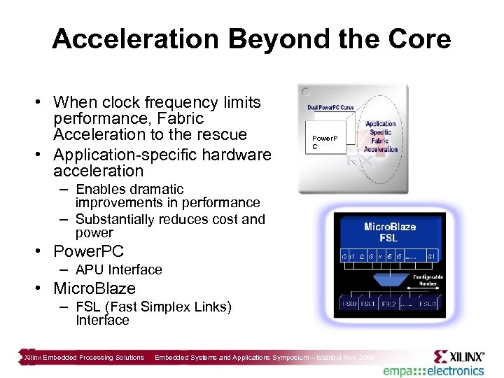 Acceleration Beyond the Core • When clock frequency limits performance, Fabric Acceleration to the