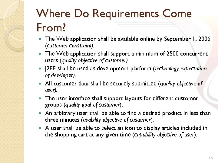 Where Do Requirements Come From? The Web application shall be available online by September