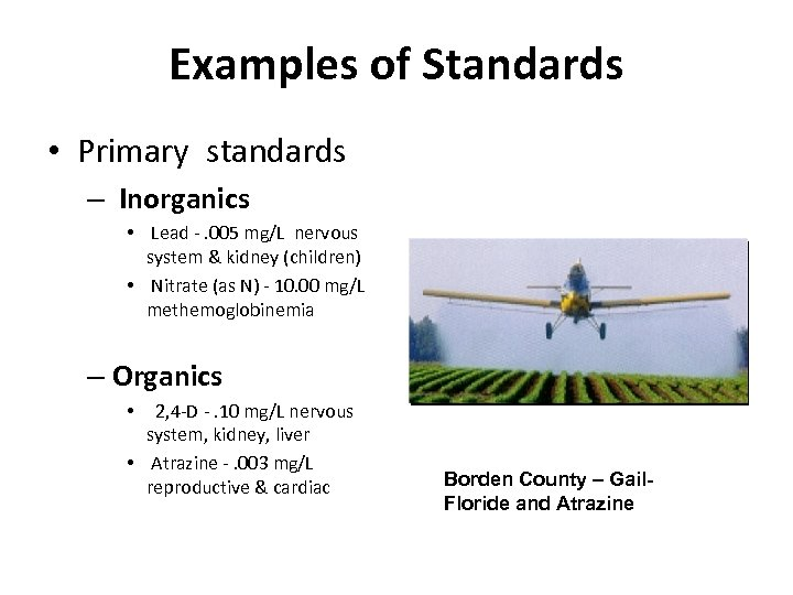 Examples of Standards • Primary standards – Inorganics • Lead -. 005 mg/L nervous