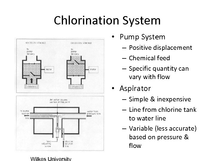 Chlorination System • Pump System – Positive displacement – Chemical feed – Specific quantity