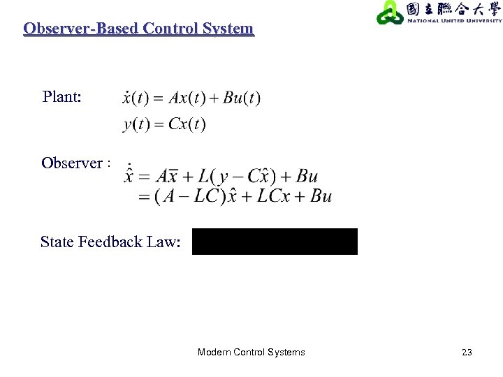 Observer-Based Control System Plant: Observer: State Feedback Law: Modern Control Systems 23