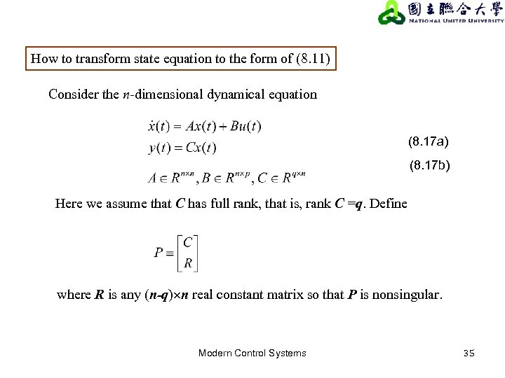 How to transform state equation to the form of (8. 11) Consider the n-dimensional