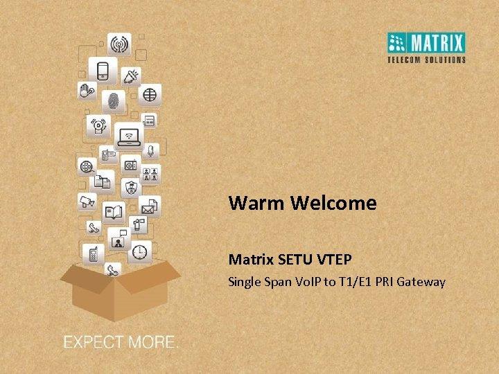 Warm Welcome Matrix SETU VTEP Single Span Vo. IP to T 1/E 1 PRI