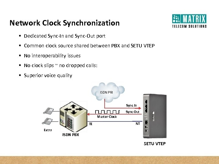 Network Clock Synchronization § Dedicated Sync-In and Sync-Out port § Common clock source shared